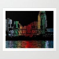 cincinnati Art Prints featuring Cincinnati Nights by Tambergal