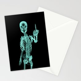 X-ray Bird / X-rayed skeleton demonstrating international hand gesture Stationery Cards