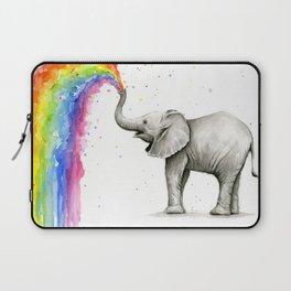 Baby Elephant Spraying Rainbow Whimsical Animals Laptop Sleeve