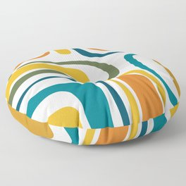 Palm Springs Midcentury Modern Abstract in Moroccan Teal, Orange, Mustard, Olive, and White Floor Pillow