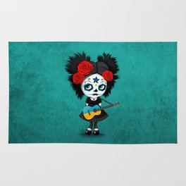 Day of the Dead Girl Playing Ukrainian Flag Guitar Rug