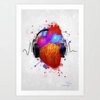 paramore Art Prints featuring No Music - No Life by Sitchko Igor
