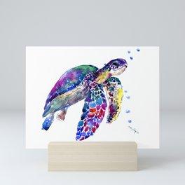 Sea Turtle Rainbow Colors, turtle design illustration artwork animals Mini Art Print
