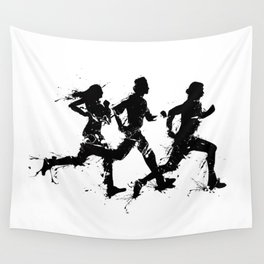 Runners in ink Wall Tapestry