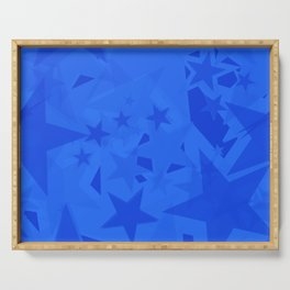 Chaotic blue stars on a sea background in projection and with depth. Serving Tray