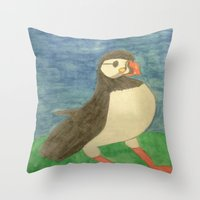 puffin Throw Pillows featuring Puffin by Danielle Gensler