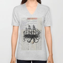 Octopus Kraken Attacking Ship on Old Postcards Unisex V-Neck
