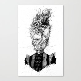 High-Class Victorian Cat (B&W) Canvas Print