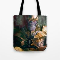 thanos Tote Bags featuring Thanos: Infinity Gauntlet  by MATT DEMINO