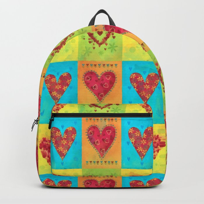 Colorful hearts pattern Backpack