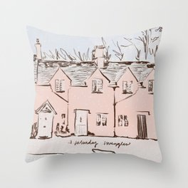 Saturday Snuggles Houses Throw Pillow