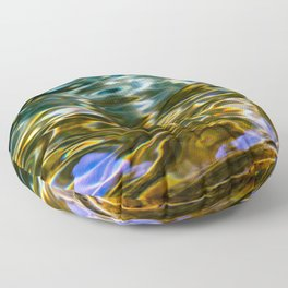 Prismatic Waves in Blue Green Copper and Gold Floor Pillow