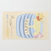 winnie the pooh Area & Throw Rugs featuring Winnie the Pooh - Hunny Dip by sunshinecandy