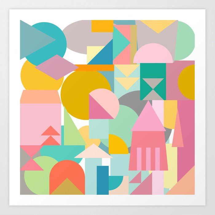 Abstract Shapes Collage Art Print By Junejournal