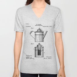 Coffee Patent - Coffee Shop Art - Black And White Unisex V-Neck