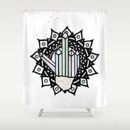 Middle Finger Mandala (Crystal) Shower Curtain