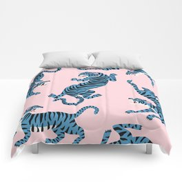 Pastel Pink & Blue Tiger Pattern Comforters