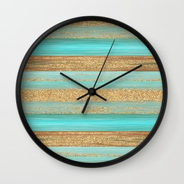 Turquoise Brown Faux Gold Glitter Stripes Pattern Wall Clock