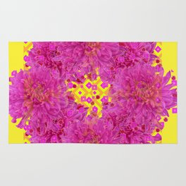 Massed Fuchsia Pink Chrysanthemums Wreath Yellow Art Rug