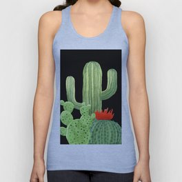 Perfect Cactus Bunch on Black Unisex Tank Top