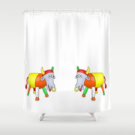 Steel Drum Colourful cow. Shower Curtain