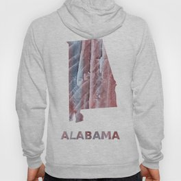 Alabama map outline Red Gray Clouds watercolor Hoody