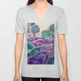 Lilies On A Purple Pond - Abstract Acrylic Art by Fluid Nature Unisex V-Neck