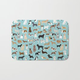 Dogs pattern print must have gifts for dog person mint dog breeds Bath Mat