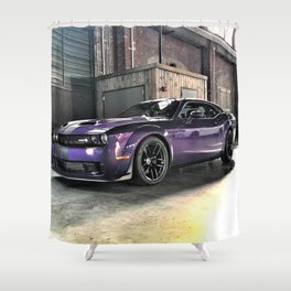 Plum Crazy Purple Challenger Demon Hellcat Redeye Shower Curtain