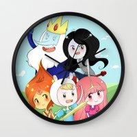 finn and jake Wall Clocks featuring Finn & Jake  by Rikku Hanari