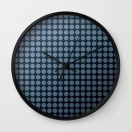 Black and blue polka dot pattern . Wall Clock
