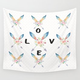 Watercolor Roses Arrows Love Typography Wall Tapestry