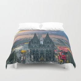 Sunset at the Rhine Duvet Cover