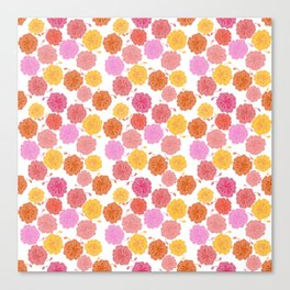 Hibiscus Hawaiian Flowers in Pinks and Corals on White Canvas Print