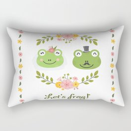 Let's frog! Funny animals couple Rectangular Pillow