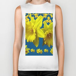 TEAL YELLOW SPRING DAFFODILS  ART DESIGN Biker Tank
