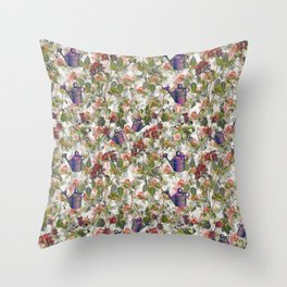Floral with Watering Can Throw Pillow