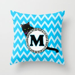 Letter M Cat Monogram Throw Pillow
