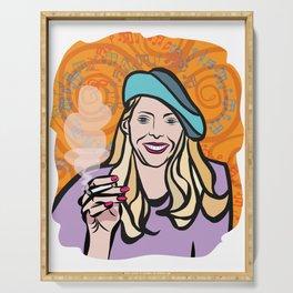 Joni Mitchell portrait Serving Tray