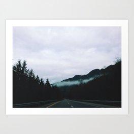 road through the fog Art Print