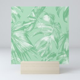 Tropics Mint Green Palm Leaves Mini Art Print