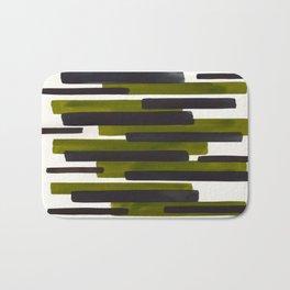 Olive Green Primitive Stripes Mid Century Modern Minimalist Watercolor Gouache Painting Colorful Str Bath Mat