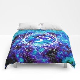 Om Mandala : Bright Violet & Teal Comforters