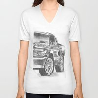 mustang V-neck T-shirts featuring Mustang by WNN Creations
