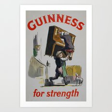 Vintage 1953 Guinness For Strength Advertising Poster Art Print