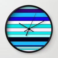 stripe Wall Clocks featuring Stripe by Mishu & Casco