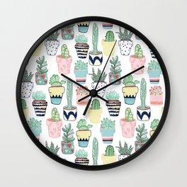 Cute Cacti in Pots Wall Clock