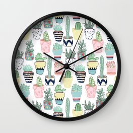 Cute Cacti in Pots Wall Clock