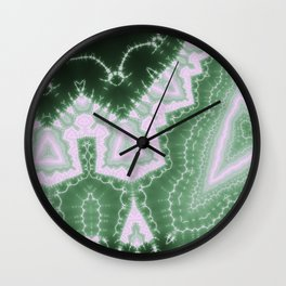 African Dream - green monochrome fractal Wall Clock