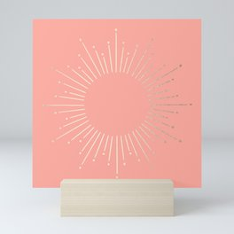 Simply Sunburst in White Gold Sands on Salmon Pink Mini Art Print
